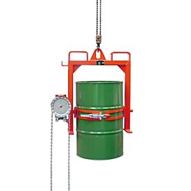 Volteador de barriles BAUER FD-SK con cadena, acero, An 1020 x P 650 x Al 1010mm, rojo