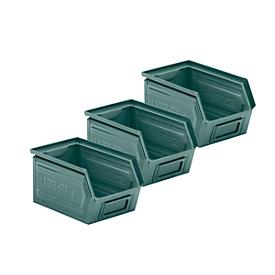 Voordeelset : 3-delige magazijnbakken SSI Schäfer LF 14/7-4, staal, L 235 x B 150 x H 128 mm, 3,5 l, grijsblauw, 2 + 1 GRATIS