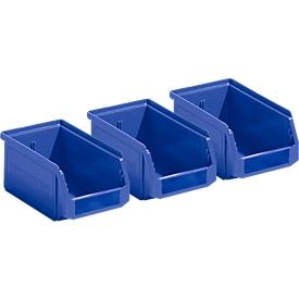 Voordeelset: 3 magazijnbakken SSI Schäfer LF 211, polypropeen, L 168 x B 103 x H 76 mm, 0,9 l, blauw