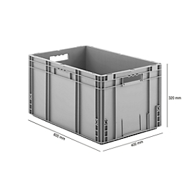 Voordeelset, 5-delig, Euro Box MF 6320 serie, vervaardigd uit polypropeen, inhoud 62,3 l elk,open handgreep, grijs, afm. uitw. B 600 x D 400 x H 320 mm