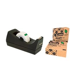 """Voordeelset tafelafroller Scotch® + 3 rollen Scotch® plakband """"Magic tape: A Greener Choice"""""""