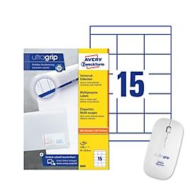 Voordelige set AVERY® Zweckform Universele etiketten, 70 x 50,8 mm + draadloze muis ultragrip