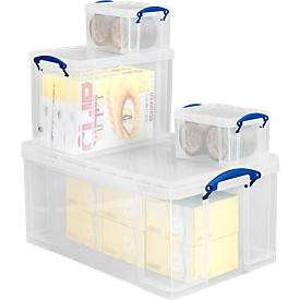 Voordelige set van 4 Kunststof opberdozen Really Useful Boxes, transparant, met deksel: 1x 35 liter, 1x 9 liter, 2x 3 liter