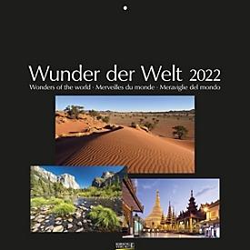 Wandkalender Wunder der Welt, schwarzes Fotopapier, B 440 x H 360 mm, Werbedruck 280 x 40 mm, Auswahl Werbeanbringung erforderlich