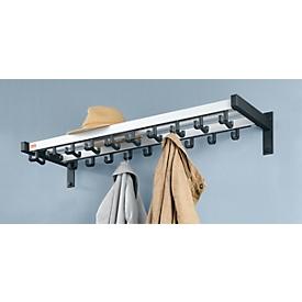 Wandkapstokken, 10 dubbele, 9 afzonderlijke haken, hoedenplank