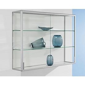 Wandvitrinekast, 1020 x 300 x 1020 mm, zilver