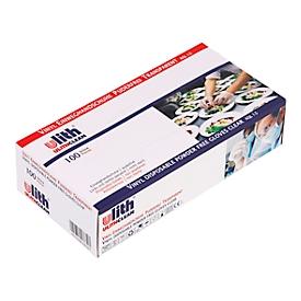 Wegwerphandschoenen, vinyl, poedervrij, maat M, tweehandig, geschikt voor levensmiddelen, wit, pak van 100 st.