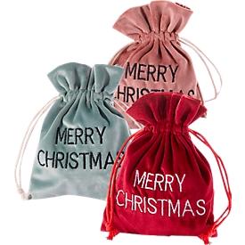 Weihnachtsbeutel aus Samt, ohne Füllung, altrosa