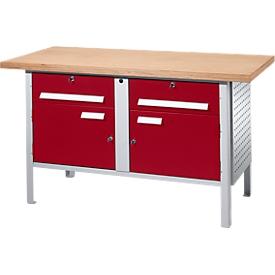 Werkbank PW 150-0, lichtgrijs/rood
