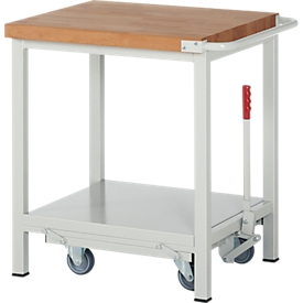 Werkbank Serie 8000, fahrbar, absenkbar, Ablageboden, B 750 x T 700 x H 880 mm