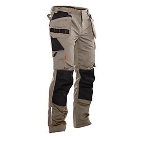 Werkbroek met tailleband Jobman 2322 PRACTICAL, met kniebeschermers & holsterzakken, kaki I zwart, maat 31