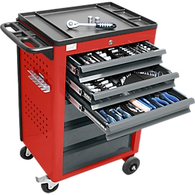 Werkplaatswagen BASIC incl. 115-delige gereedschapsset, rood