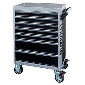 Werkplaatswagen PROJAHN GALAXY, plaatstaal, 7 schuifladen, tot 450 kg, afsluitbaar, zwart/zilvergrijs