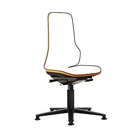 Werkstoel bimos NEON, permanent contact, basismodel zonder bekleding, met glijders, flexband oranje