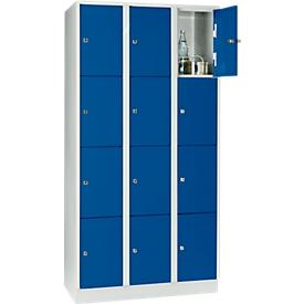 Wertfachschrank 300 mm, 3 Abteile, 12 Fächer, Sicherheitszylinderschloss, Sockel, enzianblau
