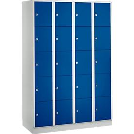Wertfachschrank 300 mm, 4 Abteile, 20 Fächer, Sicherheitszylinderschloss, Sockel, enzianblau