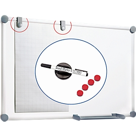 Whiteboard 2000 MAULpro,  900 x 1200 mm, gelakt oppervlak, set II