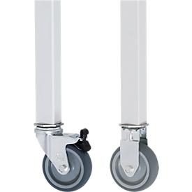 Wielenset voor werktafel Jerry, 2 vaste wielen en 2 zwenkwielen met rem