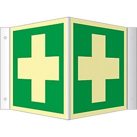 Winkelschild mit Erste Hilfe-Symbol