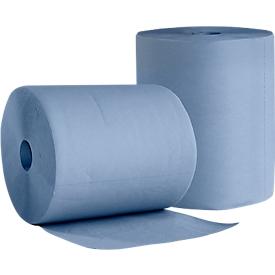 WIPEX Putzpapier BlueTech, universell einsetzbar, 2-lagig, Recyclingpapier, blau, 2 Rollen mit Kern-Ø 71 mm & 500 Tüchern, Tuchformat 220 x 380 mm