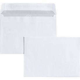 Witte enveloppen 114 x 162  mm (C6), 80 g/m², zonder venster, zelfklevend, met beschermstrip, pak van 500 stuks
