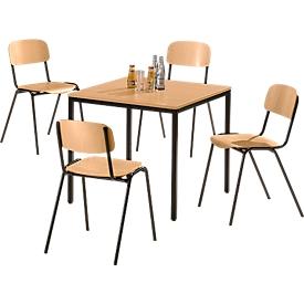 y 4 sillas de madera y 1 mesa de 800 x 800 mm, de haya, marco de la silla en marrón y marco de la mesa en marrón
