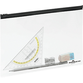Zak met ritssluiting ZIP BAG, transparant met zwarte zipper, A5, 5 stuks