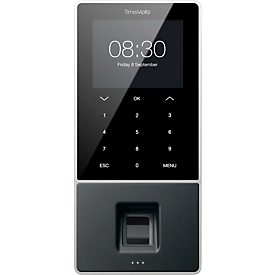 Zeiterfassungssystem TimeMoto TM-828, Wandmontage, Komplettlösung, bis 2000 Nutzer, ID per RFID/PIN/Fingerabdrucksensor, USB/LAN/WLAN, 5 RFID-Karten