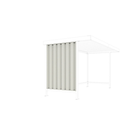 Zijwand voor het daksysteem WSM Leipzig-basiselement, D 1600 mm, trapeziumvormige metalen platen, grijs wit RAL 9002