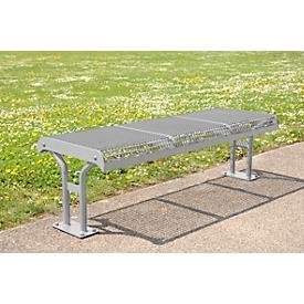 Zitbank Essen, staal, voetenbank zonder rugleuning, 3 zitplaatsen, met rand, blank aluminium