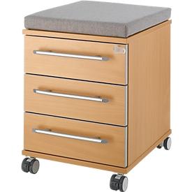 Zitkussen voor verrijdbare ladeblokken Moxxo IQ 333, B 450 x D 400 x H 4 mm, grijze stof + wielen voor zware belasting, tot 100 kg, vast te zetten