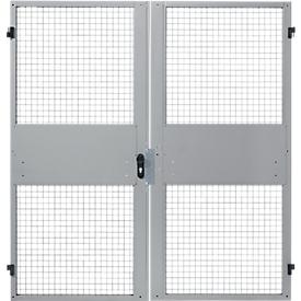 Zweiflügeltüren, für Gittertrennwandsystem, B 2000 x H 2070 mm, hellsilber