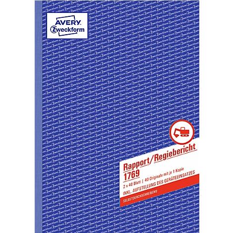 2x40 Bl. Avery Zweckform® 1769 Rapport//Regiebericht selbstdurchschreibend A4