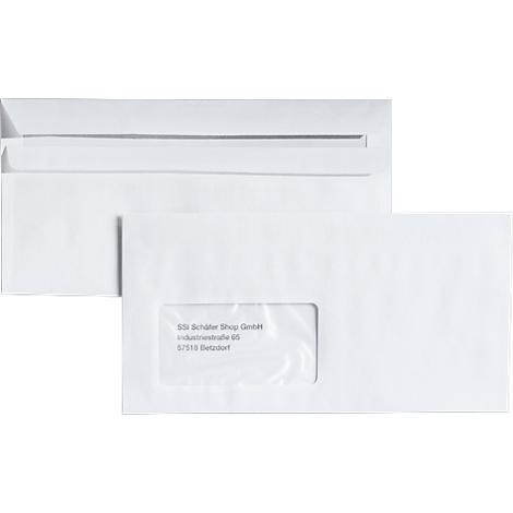 5x 100 Briefumschläge Format DIN lang mit Fenster selbstklebend 110 x 220 mm 500