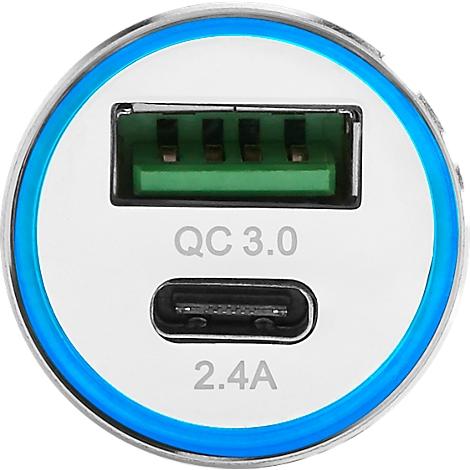 Car Charger Typ C & USB 3.0, f. 12V Steckdose, WAB seitlich per Lasergravur 15 x 8 mm