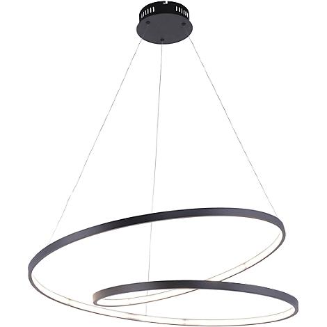 LED Pendelleuchte ROMAN, schwarz, Lichtfarbe Warmweiß, 40W, 4500 lm, B720xT720 mm