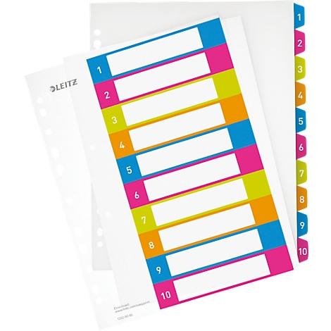 LEITZ Kunststoff Register WOW Zahlen A4 Überbreite 1-10