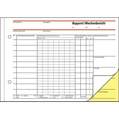 """sigel Formularbuch /""""Rapport//Wochenbericht/"""" A5 quer SD"""