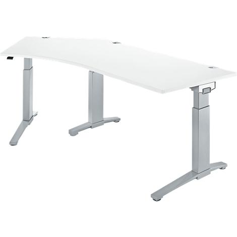 Schreibtisch 135° PLANOVA ERGOSTYLE, Ansatz links, 1 stufig elektrisch h.verstellbar, B 2165 mm, l.grauw.alu