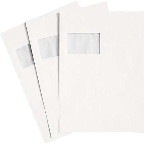 120g Briefhüllen Versandtaschen 500 Stk Weiß Mit Fenster DIN C4 Haftklebung