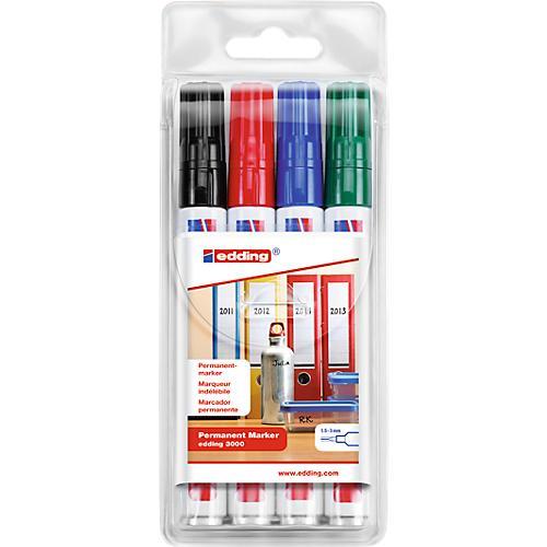 edding permanent marker 3000 4 st ck farbig sortiert g nstig kaufen sch fer shop. Black Bedroom Furniture Sets. Home Design Ideas