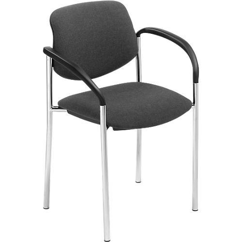 Chaise visiteur styl en tissu pi tement chrom avec - Chaise visiteur avec accoudoirs ...