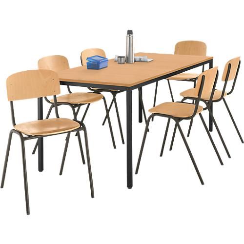set 1 table en tube d 39 acier 1600 x 800 mm 6 chaises empilables acheter bon march sch fer shop. Black Bedroom Furniture Sets. Home Design Ideas