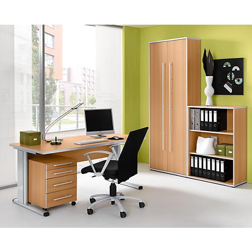 komplettset schreibtisch rollcontainer regal und aktenschrank moxxo mit c fu g nstig kaufen. Black Bedroom Furniture Sets. Home Design Ideas