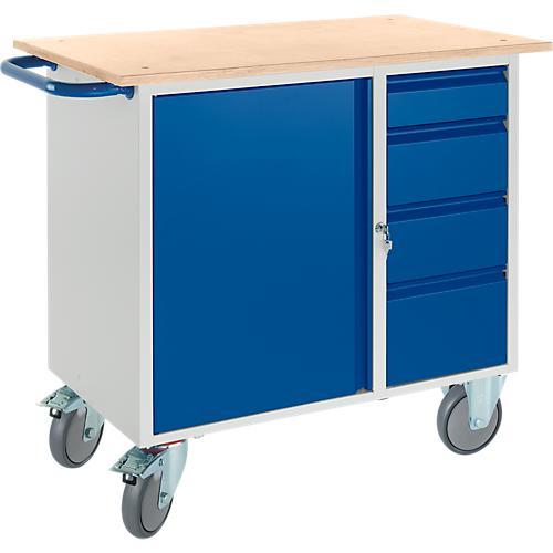 werkbank mit schrank 4 schubladen und 2 lenkrollen 2 bockrollen g nstig kaufen sch fer shop. Black Bedroom Furniture Sets. Home Design Ideas
