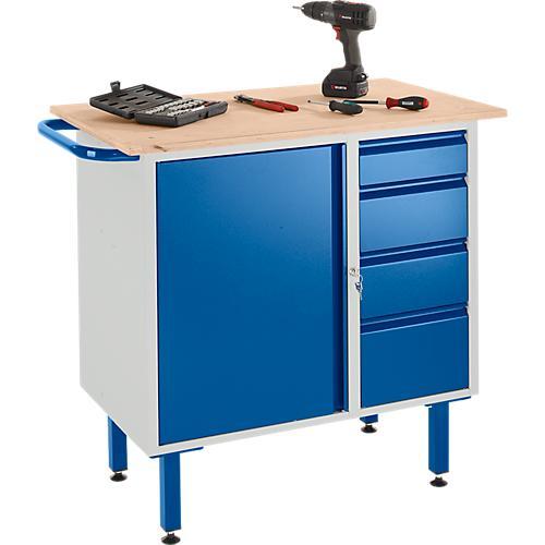 werkbank mit schrank 4 schubladen und stellf en g nstig kaufen sch fer shop. Black Bedroom Furniture Sets. Home Design Ideas