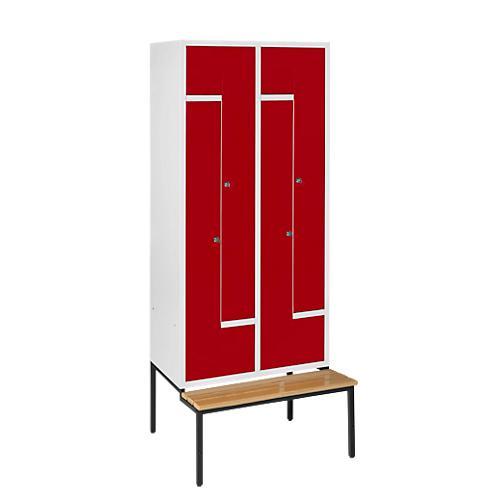 z garderobenschrank 4 abteile mit sitzbank abschlie bar g nstig kaufen sch fer shop. Black Bedroom Furniture Sets. Home Design Ideas