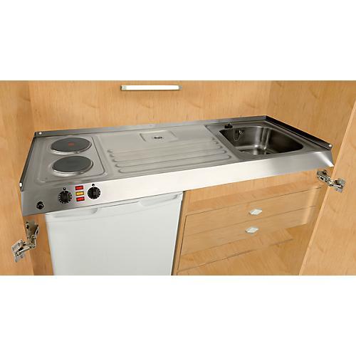 Pantry-Küche, Flügeltüren, Kochplatte, Spüle Links, B 1200