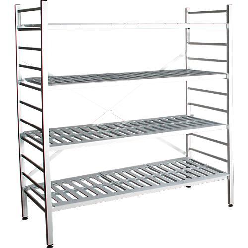 aluminium steckregal grundfeld mit 4 kunststoff rost fachb den h 1950 x b 1500 mm g nstig. Black Bedroom Furniture Sets. Home Design Ideas