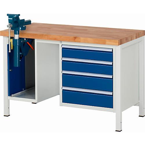 werkbank serie 8185 4 schubladen 1 schrank mit t r inklusive schraubstock g nstig kaufen. Black Bedroom Furniture Sets. Home Design Ideas